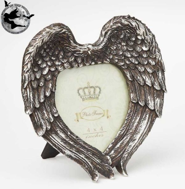 ALCHEMY GOTHIC Angel Winged Heart Photo Frame